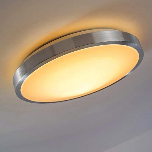 Deckenlampe Sora mit LED-Lichtern aus Metall - Warmweißes, gemütliches Licht mit 3000 Kelvin und 24 Watt für das Badezimmer oder andere Zimmer - Toller Kontrast zwischen Weiß und gebürstetem Metall