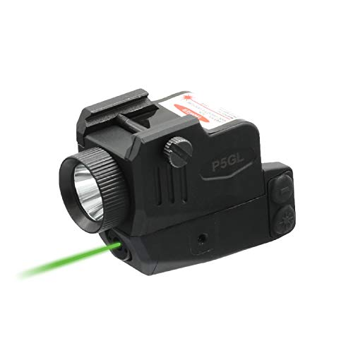 HiLight P5GL 400lm Strobe Flashlight Green Laser Sight Combo (Laser Light Combo) for Pistols Handguns Rifles Built-in USB Rechargeable Battery