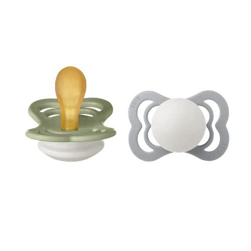 BIBS Supreme 2 chupetes sin BPA ni simétricos de caucho natural y látex, talla 1 (0-6 meses), color verde