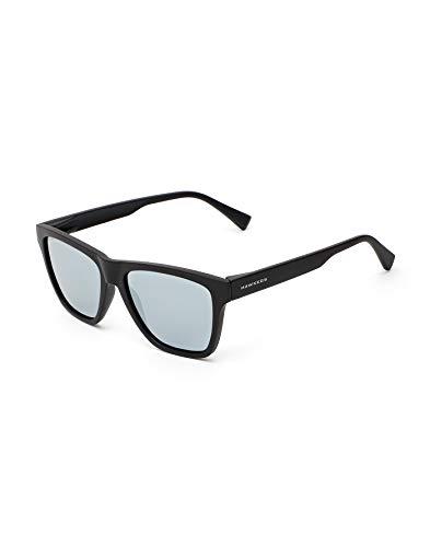 HAWKERS Gafas de Sol LS Carbon Black Chrome, para Hombre y Mujer, con Montura Acabado engomado y Lentes espejadas Plateadas, Protección UV400, Negro/Gris, One Size Unisex-Adult