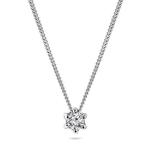 Miore Kette Damen 0.07 Ct Solitär Diamant Anhänger Haskette Weißgold 9 Karat / 375 Gold, Länge 45 cm Schmuck mit Diamant Brillant