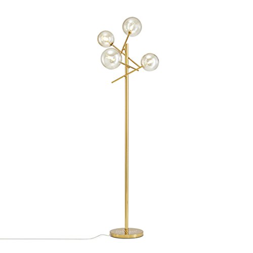 Staande lampen, staande lampen, post-modern, verstelbare hoek, metalen vloerlamp, glazen bol, design, woonkamer, slaapkamer, staande lamp, hoogte 155 cm