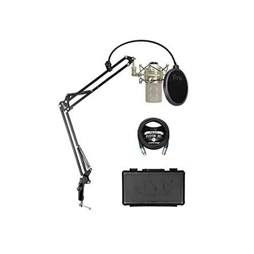 MXL 990 Cardioid Condenser Microphone for Podcasts, Recording Vocals and Acoustic Guitars (Champagne) Bundle with Blucoil Boom Arm Plus Pop Filter, and 10-FT Balanced XLR Cable