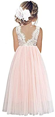 2Bunnies Girl Peony Lace Back A-Line Straight Tutu Tulle Party Flower Girl Dresses (Pink Sleeveless Maxi, 10/12)
