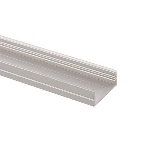 LEDKIA LIGHTING Perfil de Aluminio de Superficie 1m para Doble Tira LED hasta 18 mm TranslúcidoTranslúcido