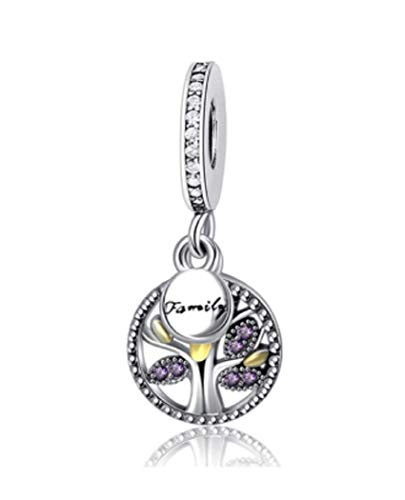 FeatherWish 925 Sterling Silver Family Heritage Tree Of Life Pendant Dangle Charm With Cubic Zirconia Compatible With Pandora Bracelet (Gold & Purple)