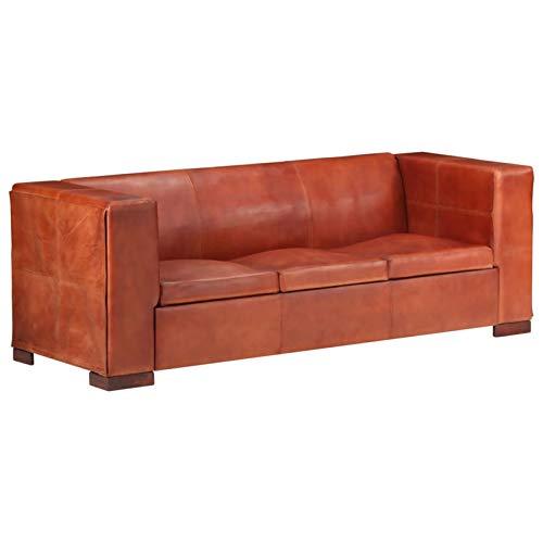 Tidyard Sofás de salón Sofá de 3 plazas Cuero auténtico marrón Oscuro