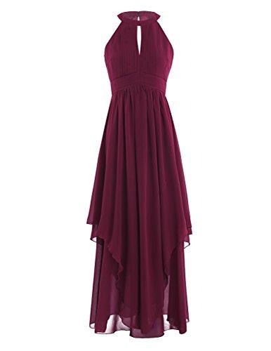 iEFiEL Damen Kleid Festliche Kleider Brautjungfer Hochzeit Cocktailkleid Chiffon Sommer Kleid Elegant Langes Abendkleid Weinrot 36