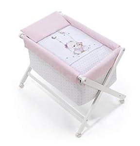 danielstore- Minicuna Plegable + Vestidura (Colcha-Cojín y Protector) + Colchon + Babero de regalo (Oso columpio rosa)
