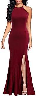Lyrur Women's Sexy Spaghetti Straps Slit Formal Long Bridesmaid Maxi Party Evening Dress Mermaid Prom Gown