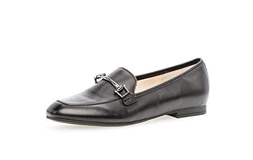 Gabor Damen SlipperMokassins, Frauen Slipper, Slip-on College Schuh Loafer businessschuh Damen Frauen weibliche Lady,schwarz(Altsilber),43 EU / 9 UK