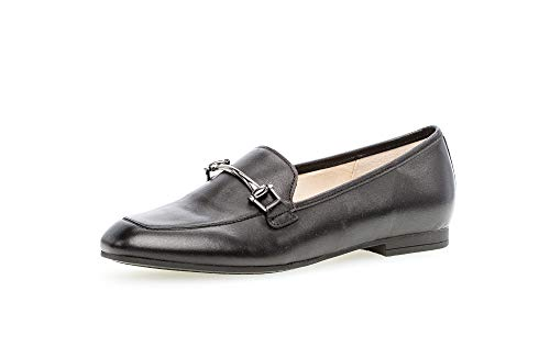 Gabor Damen SlipperMokassins, Frauen Slipper, Loafer businessschuh Damen Frauen weibliche Ladies feminin elegant,schwarz(Altsilber),39 EU / 6 UK