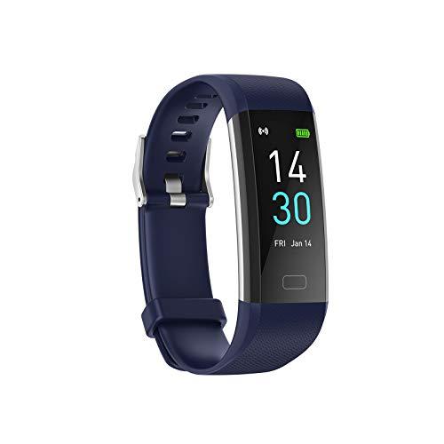 Konesky Fitness Tracker Monitor de Ritmo cardíaco Pulsera de presión Arterial Actividad Reloj Podómetro Contador de calorías Pulsera para Android iOS Smartphone (Versión Mejorada- Azul)