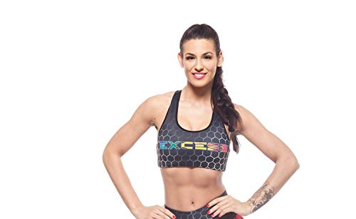 Excess Sujetador Deportivo para Mujer Alas Gris Shock Absorber Top Push Up Fitness Yoga Pilates Running Gimnasio Maillot de Ciclismo 3D de Fiesta Mujer Sexy Italiano Camisetas Dim