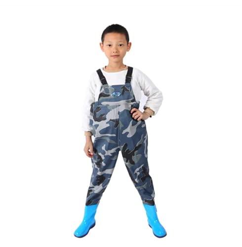 QTDZ Leichte Strapazierfähige PVC Kinder Anglerhose, Outdoor Wathose Stiefel Zum Angeln und Jagen für Kinder wasserdichte Jugend Waders mit Verstellbarer Schultergurt,Blau,28 EU