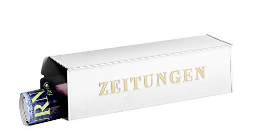 Burg-Wächter Zeitungsbox mit geprägter Schrift, Metall, 808 W, Weiß