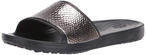 crocs Damen Sloane Metaltext Slide W Dusch- & Badeschuhe, Silber (Gunmetal/Black 0fg), 41/42 EU