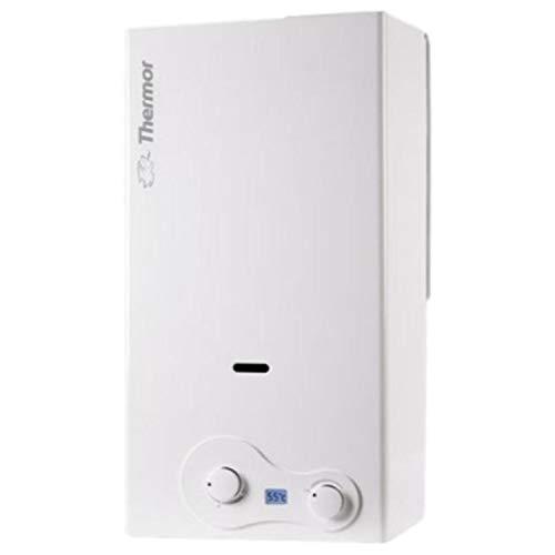 Thermor Calentador gas natural Iono Select 11L, a pilas, encendido electrónico, 19 kW, pantalla LCD, regulador de temperatura y caudal, 24 x 31 x 59 centímetros, color blanco (Referencia: 298004)