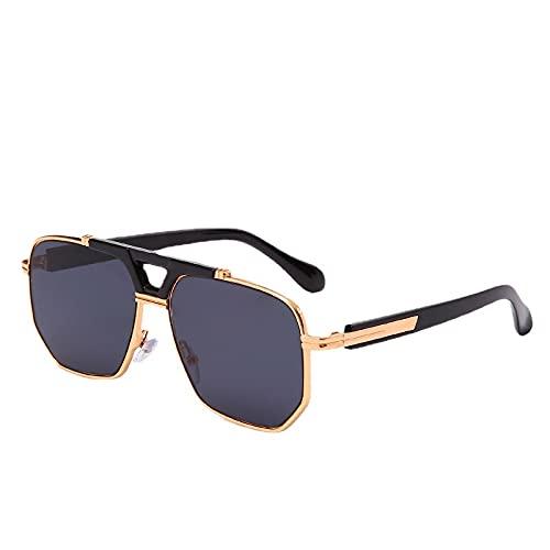 XUANTAO Gafas de sol reflectantes de espejo de aviador de moda clásica para hombre Gafas de sol de conducción plateadas de metal de moda C1