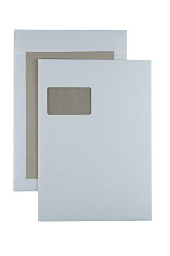 100 Papprückwandtaschen Versandtaschen C4 oder B4, haftklebend, weiß, mit Fenster (C4-229x324mm mit Fenster)
