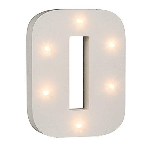 schenken-24 Beleuchtete Zahlen (0-9) mit LED-Birnchen, weiß, ca. 16 cm Höhe, Zahlen:Zahl 0