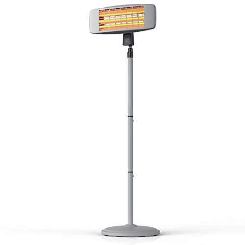 Brandson - Heizstrahler mit Fernbedienung - Wärmelampe Terrassenheizstrahler - 3 Leistungsstufen Heizelemente - Inkl. Fernbedienung - LED Power-Indikator - Wandhalterung