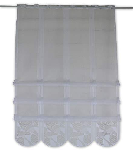 Cliprollo Scheibengardine Jacquard weiß Höhe 140cm | Breite der Gardine frei wählbar in 20cm Schritten | Gardine | Panneaux (Höhe 140cm)
