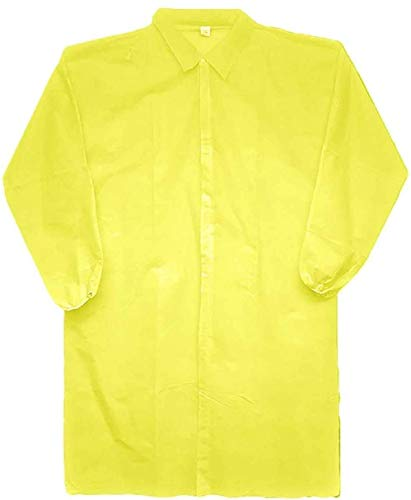 AMAZING Disposable Lab Coats. Pack of 10 Yellow Polypropylene Work Gowns XX-Large, 44'. Hook and Loop Fastener, Collar, Elastic Wrists, No Pockets. Unisex PPE Visitor Clothing for Industrial Use.