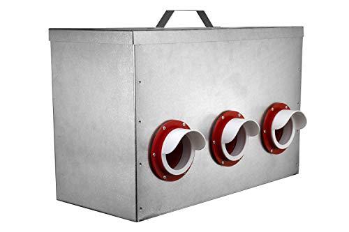 RentACoop 65lb Capacity 6-Port All Weather Metal Poultry Feeder
