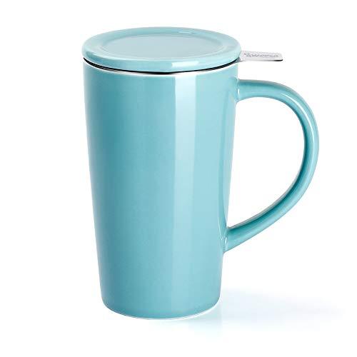 Sweese 202.102 Teetasse mit Deckel und Sieb, Tee tassen Porzellan für Losen Tee Oder Beutel, Helltükis, 450 ml