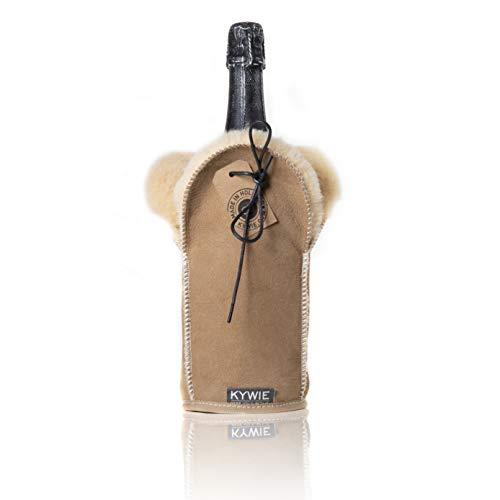 KYWIE Enfriador de Botellas de Champán, de Vino Espumante con Piel de Oveja aisladora para Botellas de Champán y Prosecco – Camel Suede