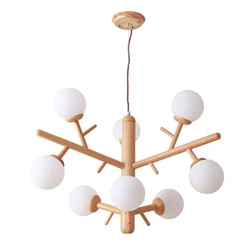 DE_ZHAO Nordic Log Wohnzimmer Lampen Postmodern Molecular Simple Tisch Massivholz Magic Bean Pendelleuchte