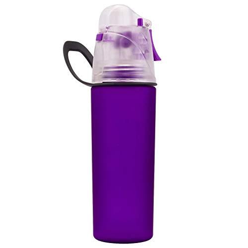Botella de agua deportiva para beber y nebulizar, respetuosa con el medio ambiente, color morado, para viajes, ejercicio, senderismo, jarra, fitness, 1 unidad, 500 ml