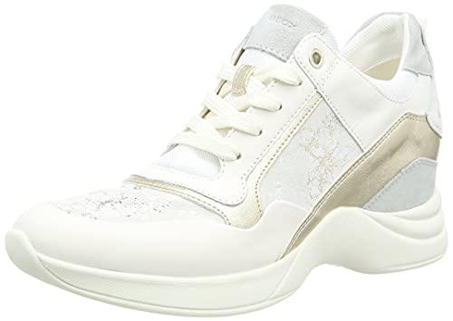 Geox D ARMONICA A, Zapatillas Mujer, Off White Ice, 36 EU