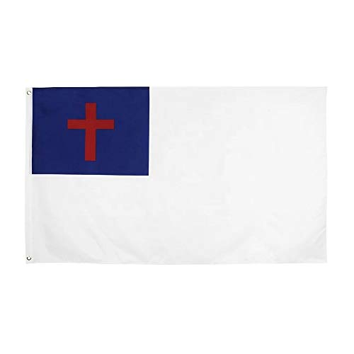 BirchRiver 3x5 Christian Flag- Vivid Color and UV Fade Resistant - Strong Header and Double Stitched – Faith, Cross, Blue, White Banner Polyester with Brass Grommets