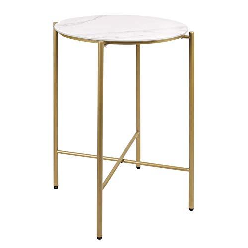 MONCOT サイドテーブル ベッドサイドテーブル 大理石色のテーブル 簡易テーブル 小型テーブル イドテーブル ソファサイドテーブル テーブル 丸 コーヒーテーブル コンパクトサイドテーブル ソファーテーブル おしゃれサイドテーブル カフェテーブル マー