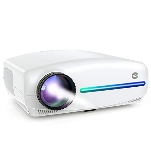 "VIVIMAGE Explore 3 Projector for Outdoor Movies, 7000 Lux Full HD 300"" Native 1080P Projector 60Hz Compatible TV Stick, 2 HDMI, VGA, Smartphone, PC, TV Box, PS4, ±40° Electronic Keystone Correction"