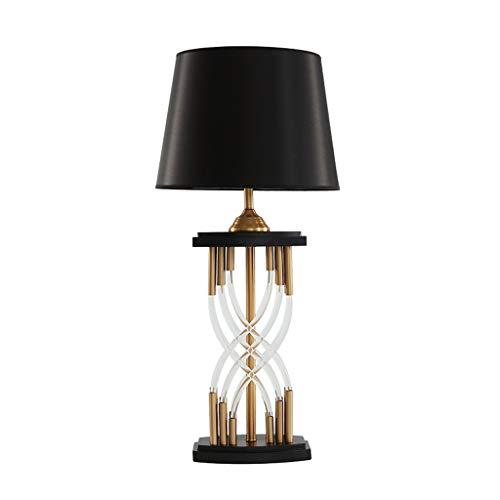 JLXW Moderne kristallen tafellamp, persoonlijkheid design bedlampje met nagemaakte zijden lampenkap, bedlampje voor binnenwerk