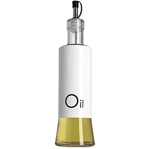KADAX Spender für flüssige Würzmittel, Glasflasche mit Stahlelementen, Glasspender für Öl, Essig, Vinaigrette, Ölbehälter, Olivenöl-Spender (Öl, weiß)