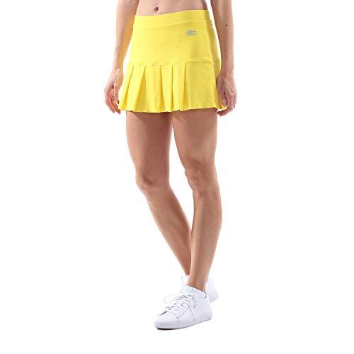 SPORTKIND Jupe plissée avec Short intégré pour Tennis/Hockey sur Gazon/Golf pour Filles et Femmes, Jaune, Taille XL (42-44)