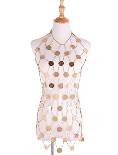 CHXISHOP Damen Sexy Körperkette Acryl Pailletten Kleid Taille Kette Körperkette Sommer Strand Party Kleid Gold