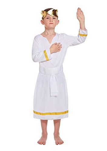 HENBRANDT Disfraz de Griego Antiguo niños Toga Edad 7 - 9 años