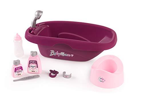 Smoby 220359 - Baby Nurse Puppen-Badewanne - Puppenbadewanne mit Babyflasche und viel Zubehör, Puppen-Zubehör für Puppen bis 42 cm, für Kinder ab 3 Jahren, rosa, lila