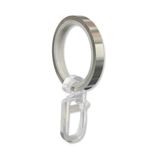 INTERDECO Gardinenstangen Ringe mit Gleiteinlage und Faltenhaken, Gardinenringe in Edelstahl Optik für 20 mm Ø (20 Stück)