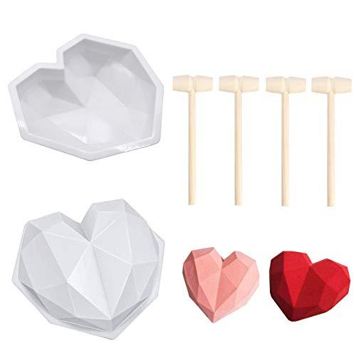2 stampi in silicone 3D a forma di cuore con mousse a forma di cuore geometrico per torte, mousse, cioccolato, brownie, Cheesecake, fondente con 4 mini martello di legno