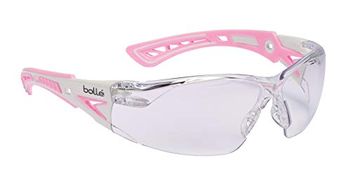 Bolle Bollé Safety 40254, Rush+ Small Safety Glasses Platinum, Pink & White Frame, Clear Lenses