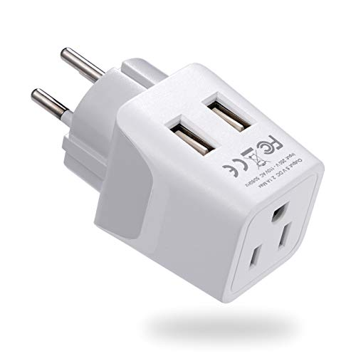 Ceptics Israel, Palestine Travel Adapter Plug with Dual USB - Usa Input - Type H - Ultra Compact - Perfect for Cell Phones, Laptop, Camera Chargers, iWatch, iPhone and More (CTU-14)