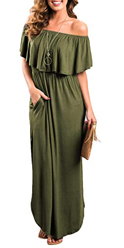 Womens Off The Shoulder Ruffle Party Dresses Side Split Beach Maxi Dress Olive S