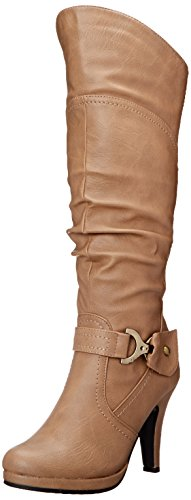 TOP Moda Womens Page-65 Knee High Round Toe Lace-Up Slouched High Heel Boots,Tan,8.5