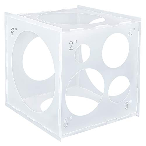Pllieay 9 Sizes Collapsible Plastic Balloon Sizer Cube Box for Balloon Decorations, Balloon Arches, Balloon Columns (2-10 Inch)